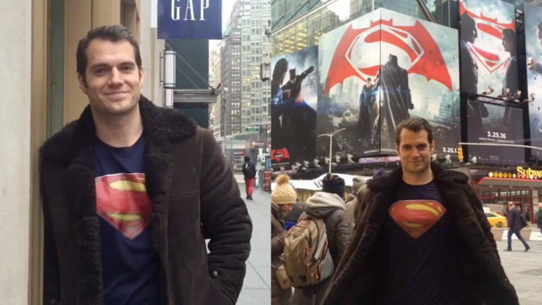 Henry Cavill in Times Square